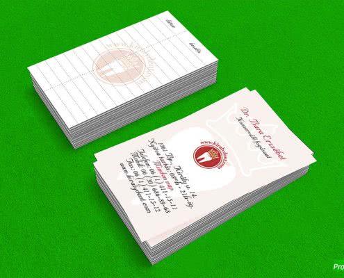 Királydent, kétoldalas névjegykártya kreatív papíron