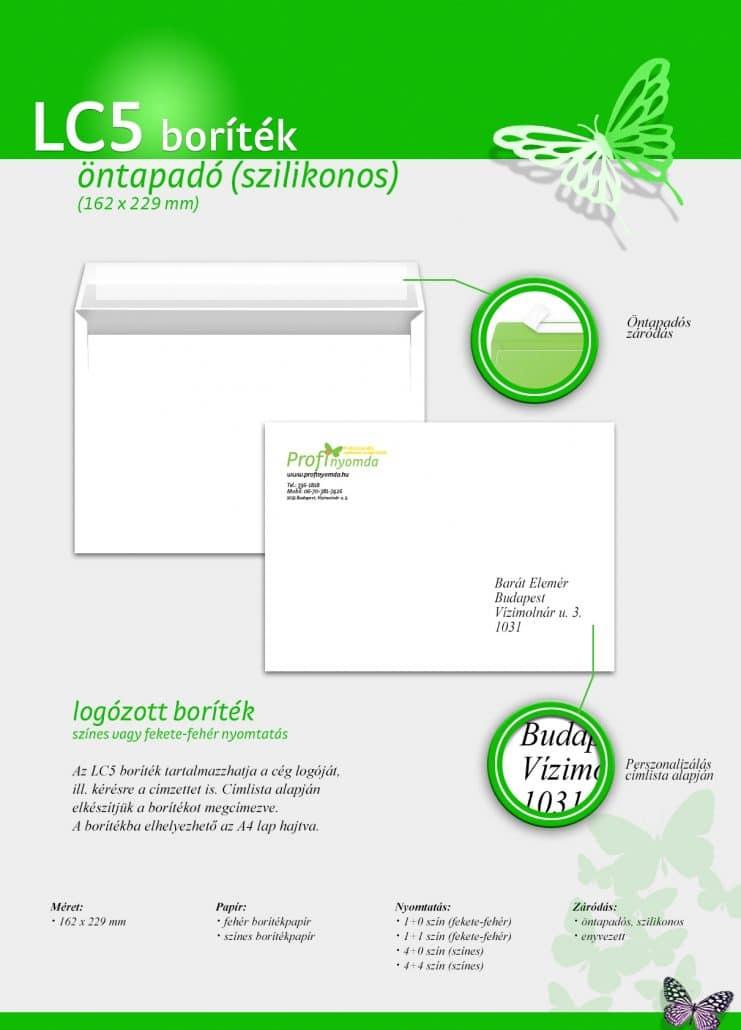 Boríték nyomtatás, LC5 boríték
