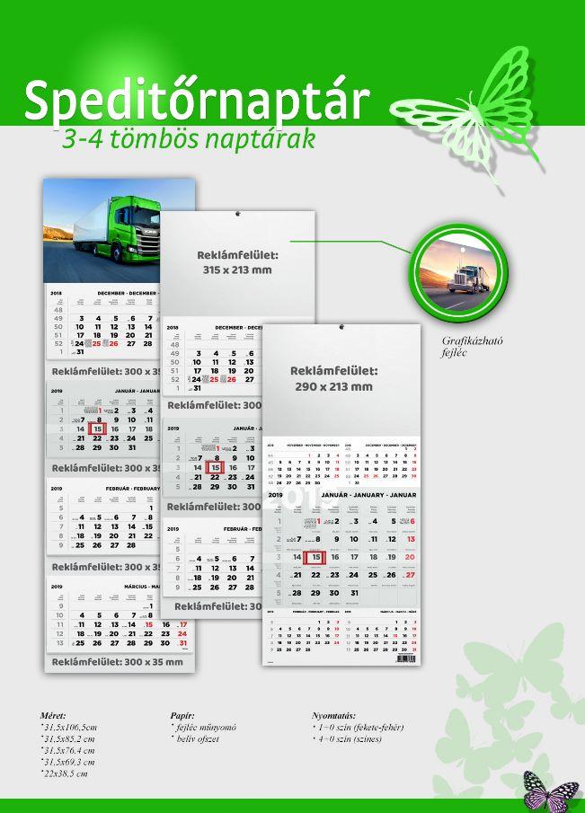Speditőr naptár nyomtatás