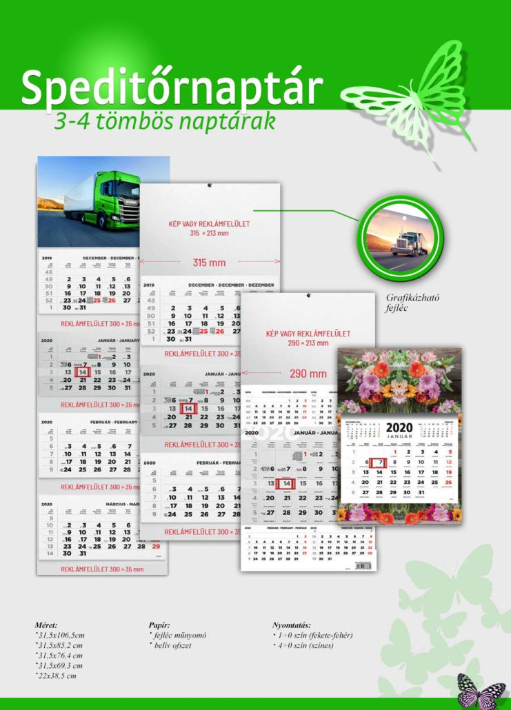 Speditőr naptár 3 és 4 tömbös kivitelben egyedi fotóval